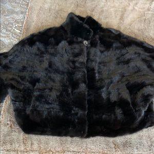 Jackets & Blazers - Full-cut black mink short coat with pockets.